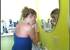 Golden-haired Gives a Handjob and additionally Fucks in the Toilet