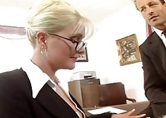 Busty secretary banged in stockings and plus a garter