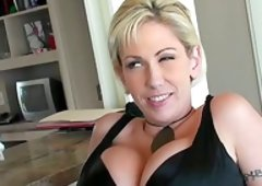 Bigtitted blond mom Kasey Grant jumps on a cock after sucking it