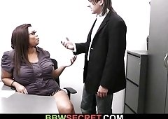 Married boss seduces his massive ebony secretary