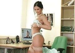 Secretary strips & masturbat