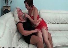 Grown-up perverted lesbos woman enjoys