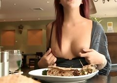 Sitting at a restaurant and additionally flashing her tits in public