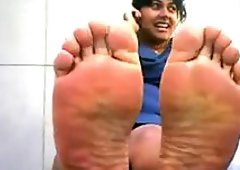Indian Lady Shows Off Her Feet Outside