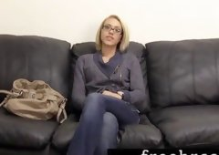 Pretty Golden-haired Bellas Creamy Audition for Backroom Casting Daybed