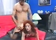 Sex-starved whore in darksome nylons takes part in MMF threesome